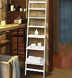 Modernes Leiterregal aus Holz / weiß - Bücherregal mit 6 Böden - Badezimmerregal Standregal