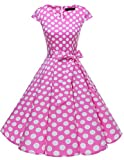 Dresstells Damen Vintage 50er Cap Sleeves Rockabilly Swing Kleider Retro Hepburn Stil Cocktailkleid...