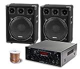 McGrey PA Komplettset DJ Anlage PowerDJ-2000 (System mit Partyboxen, Lautsprecher, 2 x 600 Watt,...