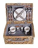 Picknick Korb komplett Porzellan Geschirr 2 Personen Weidenkorb Picknickkorb Weidenholz...
