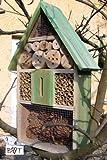 Insektenhotel, KOMPLETT mit Schmetterlingshaus XXL moosgrün grün für Nützlinge Biogarten...