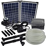 Agora-Tec® AT-Solar Bachlaufpumpen - Set 20W-BLH mit Akku und 6- fach LED Ring inklusive 9 Meter...