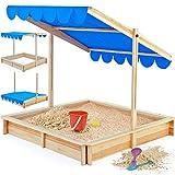 Sandkasten Spielhaus Holz Sandbox Sandkiste Kinder 120x120cm mit höhenverstellbarem und neigbarem...