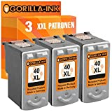 Gorilla-Ink Gorilla-Ink 3 Druckerpatronen XXL remanufactured für Canon PG-40 XL Black Pixma IP1200...