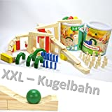 XXL HOLZ KUGELBAHN 72 TEILE Maxi Bausatz meine erste Murmelbahn Bahnen Bausteine Rampe yx 36 2x 1675...