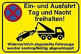 Einfahrt freihalten Schild |30 x 20 cm| 'Ein- und Ausfahrt Tag und Nacht freihalten - Widerrechtlich...