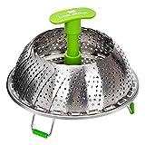 Edelstahl Dampfgarer Einsatz für Baby-Nahrung geeignet von Koala Kitchen - Faltbarer Dämpfeinsatz...