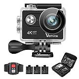 Action Cam, Vemico 4K Action Kamera WiFi Helmkamera Wasserdicht bis 40m 2.0 Zoll Display mit 2.4G...