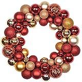 Valery Madelyn 35cm Druchmesser Weihnachtskranz Kunststoff aus 50 Weihnachtskugeln Kranz Luxus Rot...
