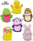 6 Stück _ Waschhandschuh / Handpuppe - ' lustige Tiere ' - Mund teilw. bespielbar - für Kinder &...