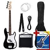 Rocktile Groover's Pack PB E-Bass Komplettset Schwarz (Verstärker, Tasche, Kabel, Gurt,...