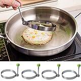 4 STK Spiegeleiform Edelstahl Bratring Eier Form Antihaft Küche Werkzeug pfannkuchen Braten Fried...