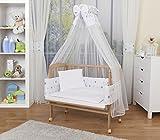 WALDIN Baby Beistellbett komplett mit Ausstattung, höhen-verstellbar, Buche Massiv-Holz natur...