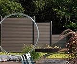 Sichtschutzzaun WPC System Set anthrazit, 178x183cm - Sichtschutz, Sichtschutz Elemente,...