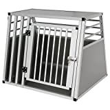 EUGAD Hundebox Hundetransportbox Transportbox Alubox Aluminium Alu Box 1 Türig Reisebox Gitterbox...
