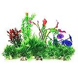 Aquarium Wasserpflanzen, PietyPet 16 Stück Klein Kunststoff Pflanzen Aquarium Aquariumpflanze Fisch...