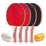 Abco Tech, Tischtennis-Set - erstklassige Schläger und 6 Tischtennibälle, weicher Schaumgummibelag...