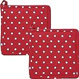 REDBEST Topflappen, Untersetzer Punkte 2er-Pack, 100% Baumwolle rot Größe 20x20 cm-...