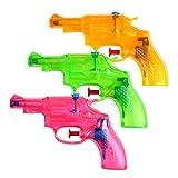 S/O 3er Pack Wasserpistole Mini Revolver ca. 13cm transparent Revolveroptik Wasserpistolen Wasser...