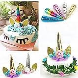HENGSONG Einhorn Horn Cake Topper Cupcake Torten Dekoration Kuchen Topper für Geburtstag Party Deko...