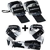 Handgelenk Bandagen + Zughilfen (2Paar/4Stück) von FITGRIFF - Premium Fitness Set für Kraftsport,...
