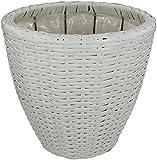 Rattan Blumentopf rund mit Einsatz 1 Stück - klein weiß