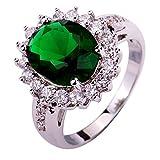 YAZILIND Lady Silber überzogener Blumen-Form Smaragd Zircon Ring für Frauen Geschenk Size8