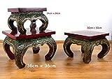Asiatischer Opiumtisch mit Glasmosaikverzierungen, Beistelltisch aus Massivholz der Marke Asia...