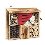 Relaxdays Insektenhotel gebrannt HBT 29 x 33 x 13,5 cm Bienenhotel aus Naturmaterialien als...