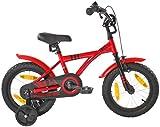 PROMETHEUS Kinderfahrrad 14 Zoll Jungen und Mädchen in Rot & Schwarz mit Stützrädern |...
