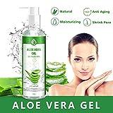 Aloe Vera Gel Bio 100% - für Gesicht, Haare und Körper - Natürliche, beruhigende und pflegende...