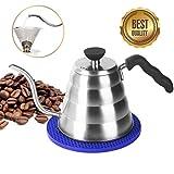Kaffeekanne Edelstahl Teekessel Elektrisch, Ohne Filter, 1,2L für 4 Tassen, Kaffeekessel...