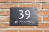 Hausschild Türschild Hausnummer aus Schiefer,Gravur 30x20cm,Wetterfest P