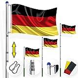 Kesser® Teleskop Fahnenmast 6,35m Flaggenmast Mast Flagge und Deutschlandfahne inkl Bodenhülse ,...