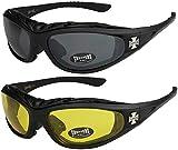 2er Pack Choppers 911 X0 Sonnenbrillen Motorradbrille Sportbrille Radbrille - 1x Modell 01 (schwarz...