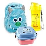 Lantelme 5991 Kinder Rucksack Monster - Brotdose und Trinkflasche im Set für Kindergarten -...