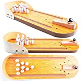 Wooden Mini Bowling Spiel Set mit Spur: Best Interactive Tabletop Bowling Game for Kids and Adults -...