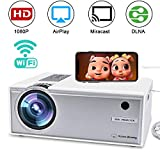 Drahtloser WiFi Video Projektor voller HD 1080P, FAERSI tragbarer LED Mini Heimkino Film Projektor...