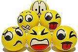 Zenball Anti-Stressball Emoji mit lustigen Gesichtern - 6 Stk Stressbälle Knautsch Knet Smiley...