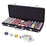 Display4top Pokerkoffer 500 Chips Laser Pokerchips Poker 12 Gramm , 2 Karten, Händler, Small Blind,...
