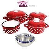 Kochtopf Set 7 tlg INDUKTION für alle Herdarten Stielkasserolle Emaille Rot mit Soft Touch...