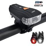 TIABO LED Fahrradlicht Aufladbare Frontlicht mit USB und Intelligenter Lichtsensor Rücklicht Akku...