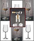 Whisky Nosing Gläser 6 Bugatti Rastal Design & 1 Flaschenportionierer aus Glas, kostenloser Versand