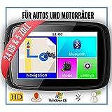 Elebest Rider W5 Navigationsgerät, 5 Zoll PKW/Motorrad,Bluetooth,Wasserdicht,Neuste Europa Karten...
