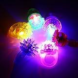 Acefun 24 Stück LED Blinkende Jelly Ringe, Leuchtendes Spielzeug, Finger Ringe mit...