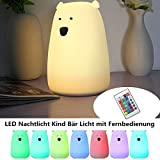 Nachtlicht Kind,SOLMORE LED Nachttischlampe Bär Licht Schlaflicht dimmbar mit 8 Beleuchtung Touch...