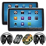 2 x Sonic Audio ® HR-10CT - Universal Touch-Screen 10.1' Tablet-Style Clip-On Headrest DVD...