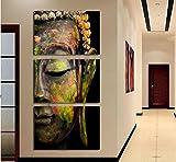 LA VIE 3 Teilig Wandbild Gemälde Buddha-Figur Hochwertiger Leinwand Bilder Moderne Kunstdruck als...