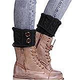 HENGSONG Damen Stricken Stulpen Socken Boot Abdeckung (Schwarz)
