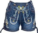 Almwerk Damen Trachten-Hose Jeans Lederhose kurz Modell Gina in blau und schwarz neu , Farbe:Blau,...